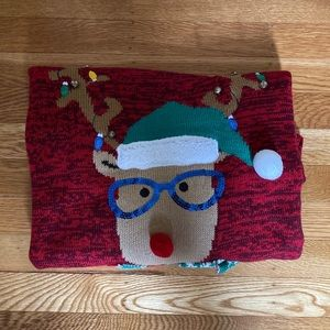 Ugly Christmas sweater, reindeer with bells size L
